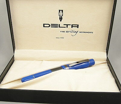 Delta Horsepower Blue & Carbon Fiber Rollerball Pen - New In Box -Made in Italy