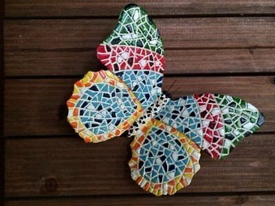 """6"""" Hand Painted Mosaic Resin Wall Or Tree Hanging Butterfly Garden Decoration"""