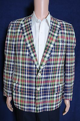 VTG '80s Jack Nicklaus Golden Bear Casuals two button plaid sport coat blazer 40