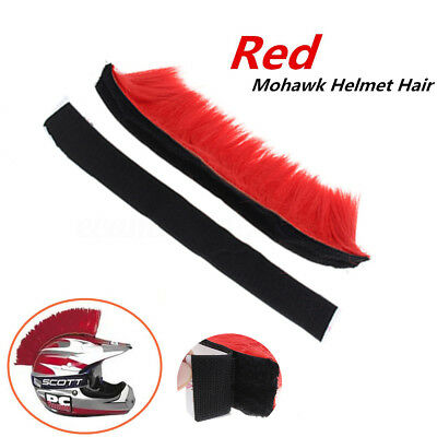 Adhesive Stick On Mohawk Helmet Hair DIY Racing Motorcycle Bike Skateboard Red