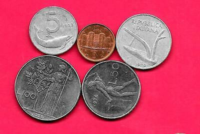 Italy Italian 5 Diff Different 1953-2004 Coin Lot Collection Set Old-Euro