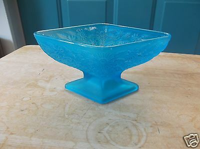 Retro Indiana Glass Blue Pineapple and Floral Diamond Shaped Footed Compote