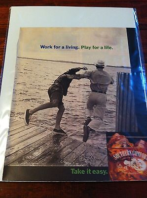 Vintage 1995 Southern Comfort Whiskey Men Jumping Off Pier Print ad