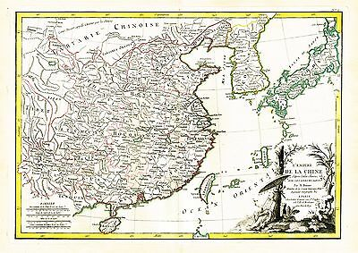 1771 Map Of China Korea Japan & Formosa By Bonne From Atlas Moderne!