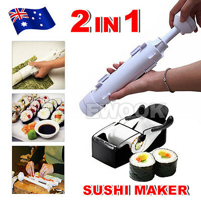 2 in 1 Sushi Roll Maker Making Kit Mold Sushi Rice Roller Mould Kitchen DIY