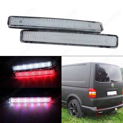 2x VW T5 LED Bumper Reflector Tail Brake Stop Light Lamps With Clear Lens Cover