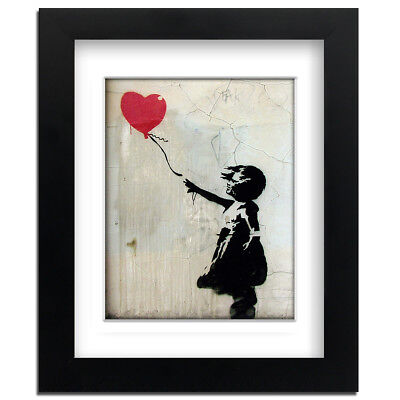 Banksy Red Balloon Girl – Street Art – professionally Framed art print with m...