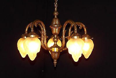 Antique French Art Nouveau Flame Globe Brass 5-Lite Chandelier