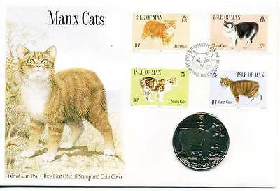 Coin Cover 1989 Manx Cats Isle of Man Crown