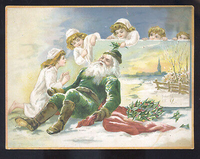 LION COFFEE SANTA CLAUS GREEN ROBE CHRISTMAS VICTORIAN TRADE CARD XMAS 1890's