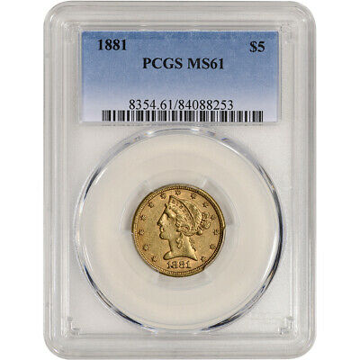 US Gold $5 Liberty Head Half Eagle - PCGS MS61 - Random Date