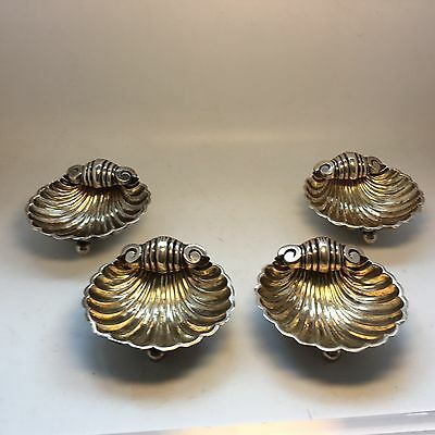 Antique English Sterling Set 4 Salts In Shell Form
