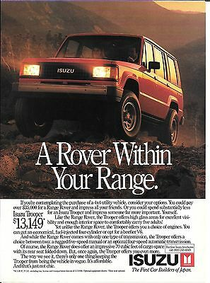 1989 Isuzu Trooper A Rover Within Your Range Ad