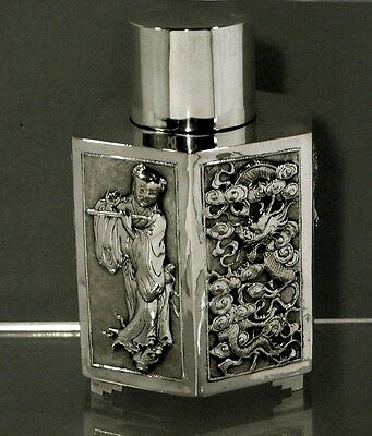 Chinese Export Silver Tea Caddy      MAIDEN w FLUTE & HARBOR             KWAN WO