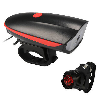 Bicycle Bike Front Light Bell and Rear Taillight Lamp Set USB Rechargeable CS499