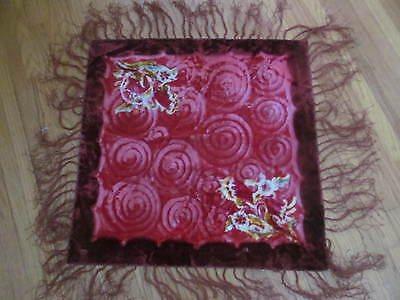 Antique Velvet Silk Fringed Floral Piano Scarf Shawl Tablecloth Table Cover