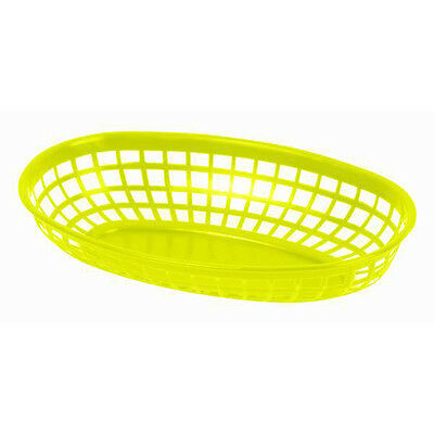 "6 PC Plastic Fast Food YELLOW Commercial Baskets Tray 9-3/8"" Oval PLBK938Y"