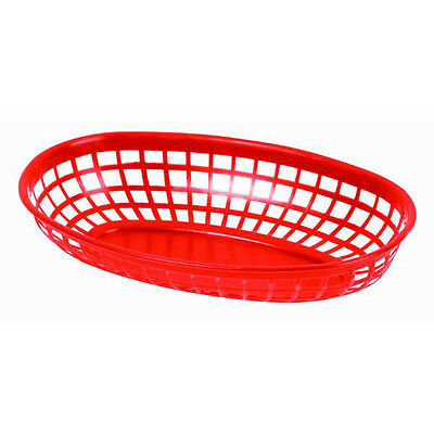 "6 PC Plastic Fast Food basket Baskets Tray 9-3/8""x 5-3/4"" Oval RED PLBK938R"
