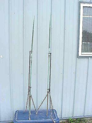 """2 Vintage Copper Lightning Rod with Base Metal 3 Legged Stand 61"""" Tall"""