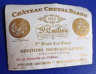 Wine Label 1962 Chateau Cheval Blanc 1er Grand Cru Classe RARE Label #1