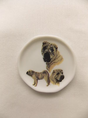 Shar-Pei Dog 3 View Porcelain Plate Magnet Fired Decal- 53