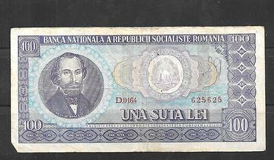 ROMANIA #97a 1966 VG USED OLD VINTAGE 100 LEI BANKNOTE CURRENCY BILL NOTE PAPER