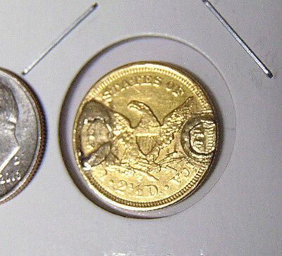 Liberty $2.50 Gold Quarter Eagle With Fancy Engraved Obverse Love Token