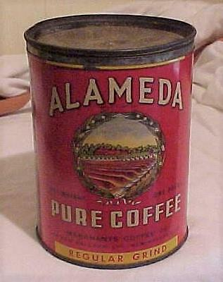 Old Vintage One Pound Alameda Coffee Can Merchants Coffee Co. New Orleans La.