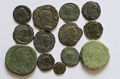 Nice Grade Group Of Roman Bronze Coins Including Sestertius, Found Lincolnshire