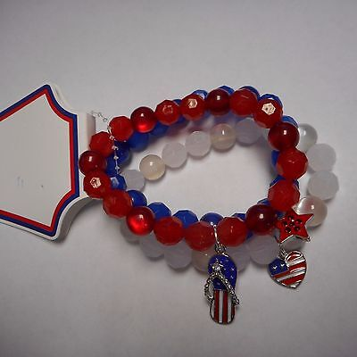 Wow Fourth Of July Bracelet Stretch Fantastic Red,white And Blue Beads