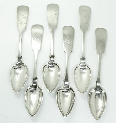 Antique Set 6 Southern Pre-Civil War American Coins Silver Teaspoons J Bunce
