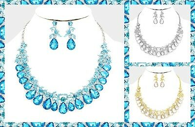 Vine Collar Bib Statement Evening Wedding Bridal Crystal Rhinestone Necklace Set
