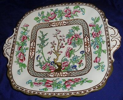 """BR1856 Coalport China Indian Tree Square Handled Cake Plate 10-1/4"""""""