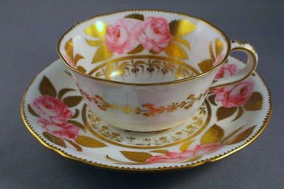 FINE ROYAL CROWN DERBY HAND PAINTED ROSES TEA CUP AND SAUCER - c.1902 - PERFECT