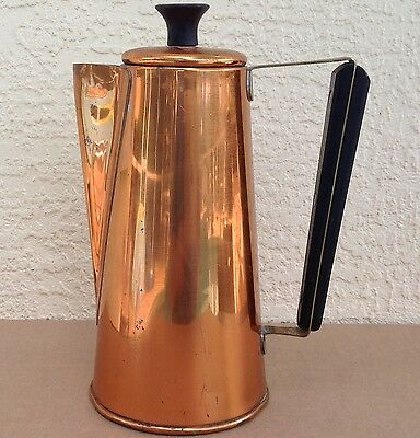 Copper Guild Taunton Mass 9 1/2 in tall kettle pot coffee tea pitcher water lid