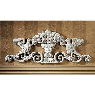 Victorian Ornamental Foundry Iron Doves Urn Wall Pediment