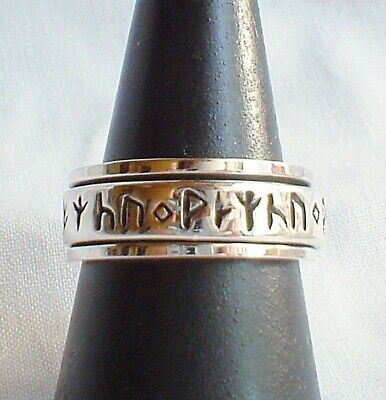 Rune Runic Spinning Worry Ring Sterling Silver Spinner~Reiki~Norse~Pagan~Viking
