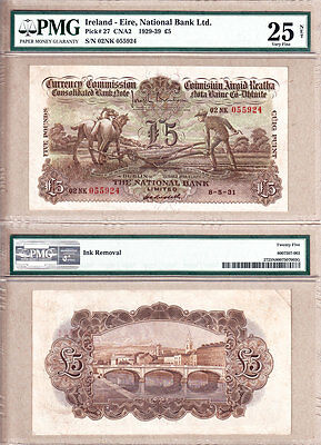 1931 £5 PLOUGHMAN National Bank of Ireland Limited (Northern Ireland)  PMG VF25