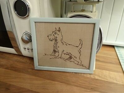 Vintage Art Deco 1930's Framed Needlepoint Tapestry Of A Terrier Dog Shabby Chic