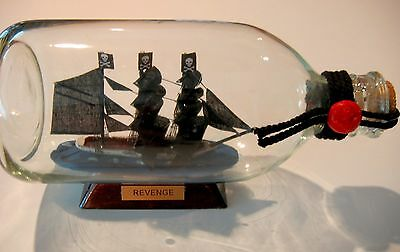"""Pirate Ship in a Bottle-- Queen Anne's REVENGE 3 Masted-7 1/2"""" long New in Box!"""