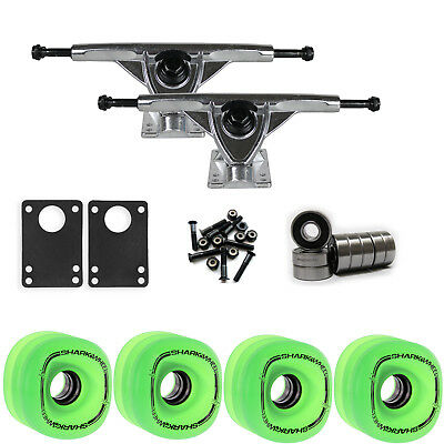 SHARK WHEELS Longboard Package 70mm T.GREEN 180MM RAW Trucks with Bearings