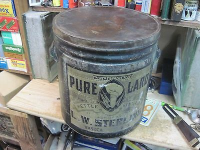Pure Lard 50 Lbs Can Sterling Waseca Mn Store Tin Early 1900's Original Empty