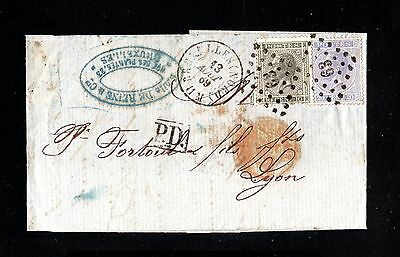 15951-BELGIUM-COVER LETTER BRUSSELS to LYON (france) 1869.Lettre BELGIQUE.Carta.