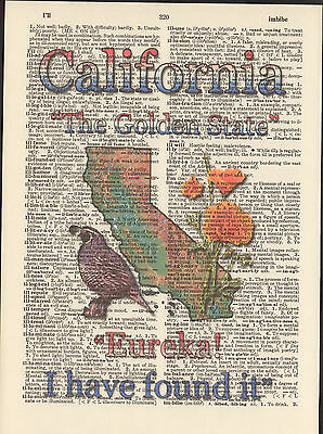 California State Map Symbols Altered Art Print Upcycled Vintage Dictionary Page
