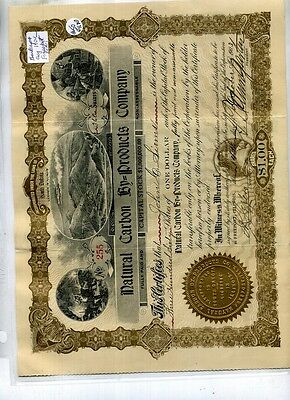 1903 Freeport Illinois Natural Carbon By Products Company Stock Certificate