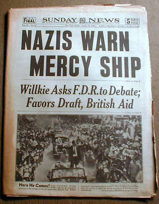 1940 NY Daily News headline newspaper w Pict  WENDEL WILKIE vs FDR for PRESIDENT