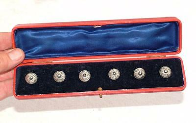 "EARLY 1800's ANTIQUE SET GERMAN DUTTENKNOPFE ENGRAVED SILVER ""PEASANT"" BUTTONS"