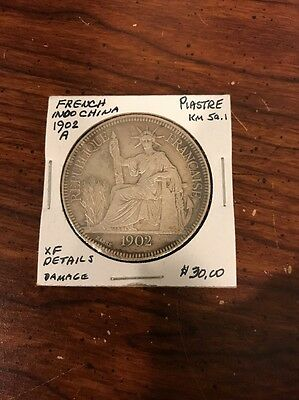 1902 French Indo China Piastre Silver Coin
