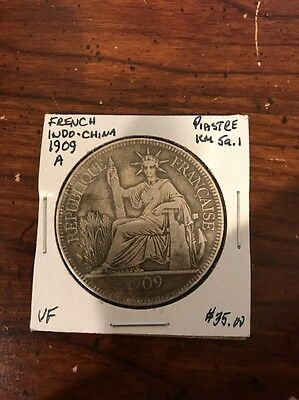 1909 French Indo China Piastre Silver Coin
