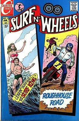 SURF N' WHEELS #2 F, Surfing, Motorcycles, Charlton Comics 1970